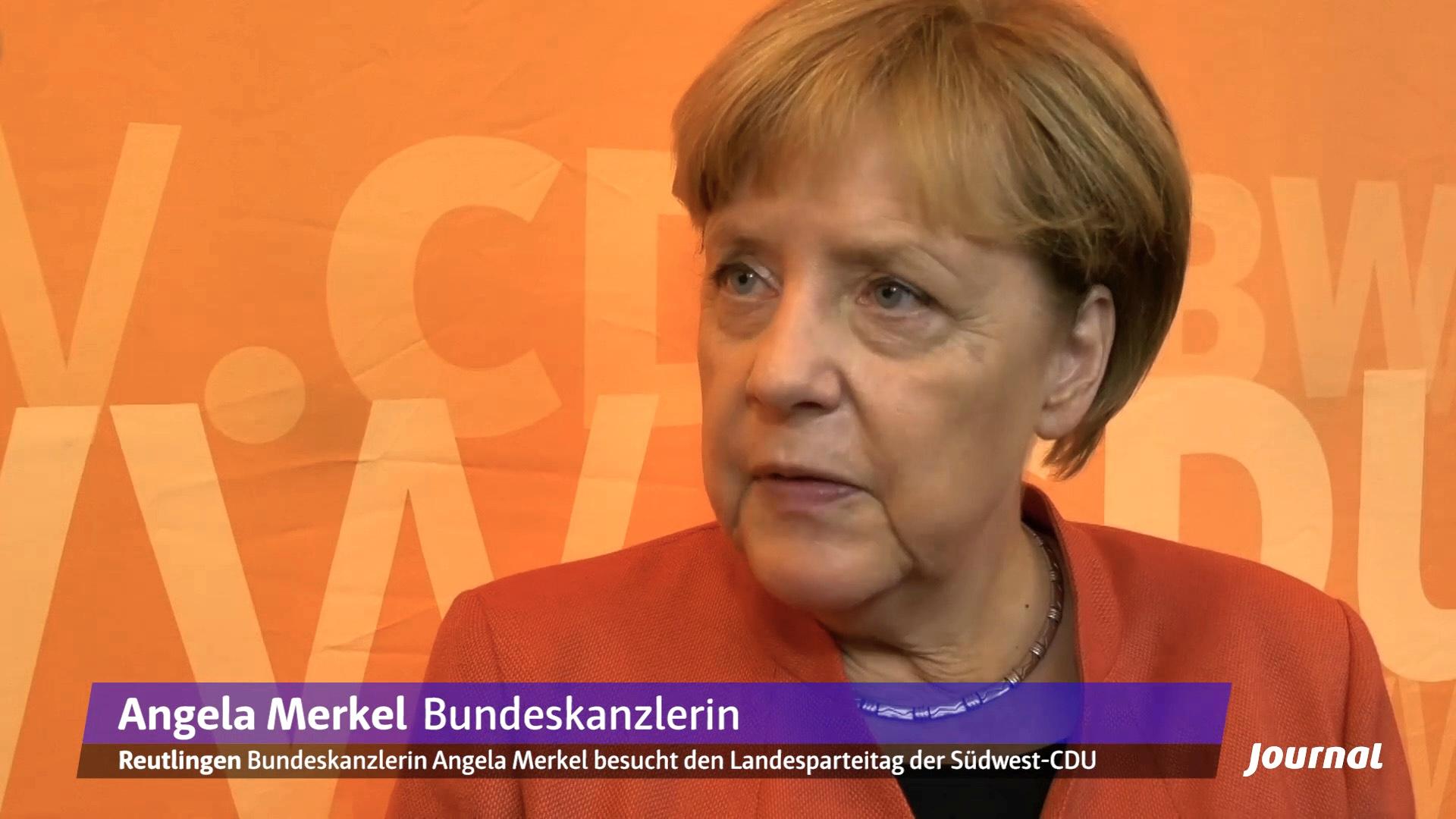 Angela Merkel macht Wahlkampf auf dem CDU-Parteitag in Reutlingen